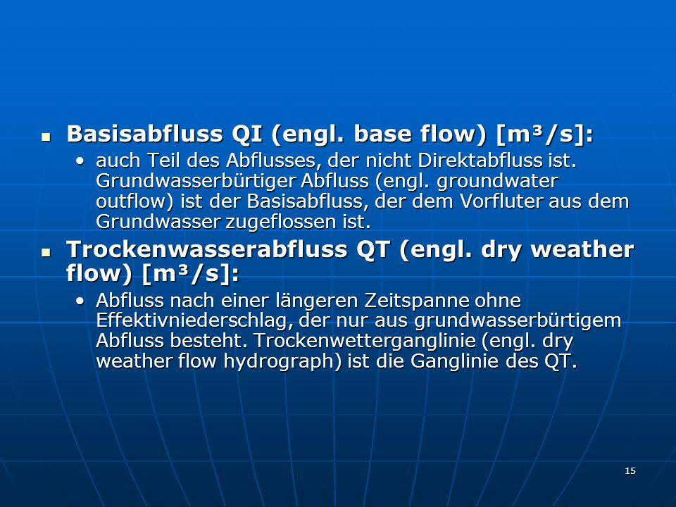 Basisabfluss QI (engl. base flow) [m³/s]: